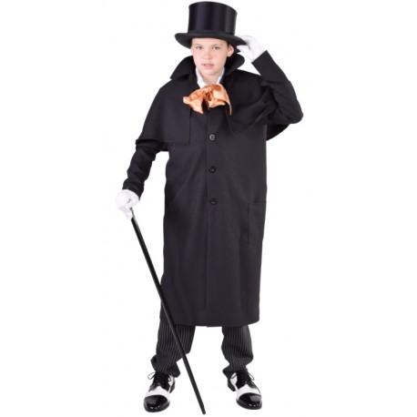 Déguisement manteau cocher victorien garçon luxe noir