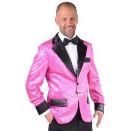 Déguisement veste rose à paillettes homme luxe