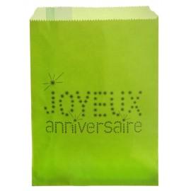 Sachets papier joyeux anniversaire vert anis 18 cm les 24