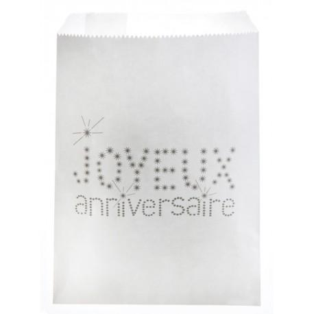 Sachets papier joyeux anniversaire blanc 18 cm les 24