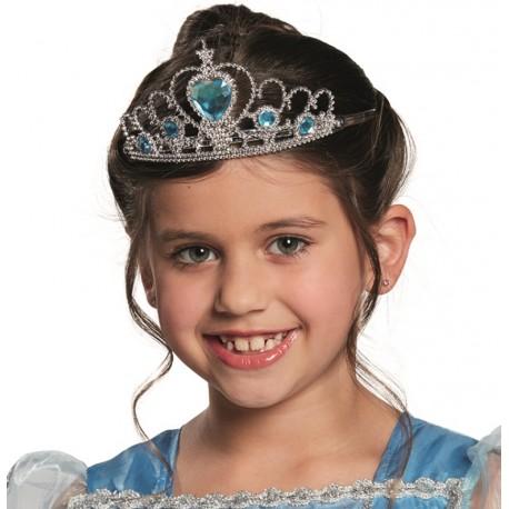 Diadème princesse fille argent bleu