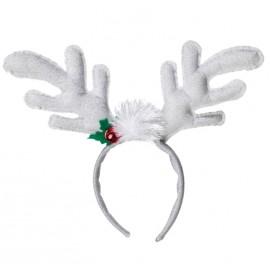 Serre tête renne Noël blanc argent adulte