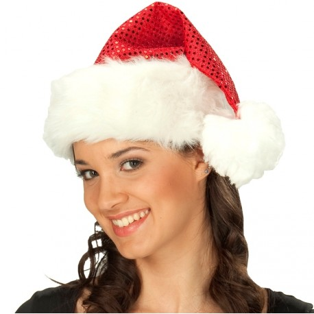 Bonnet Noël rouge à sequins adulte