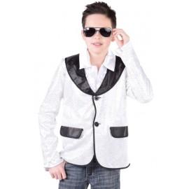 Déguisement veste blanche à paillettes garçon luxe