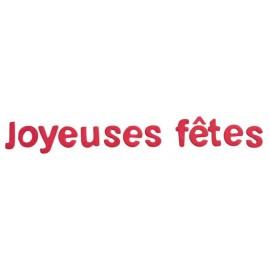 Lettres joyeuses fêtes fuchsia en bois décoratives