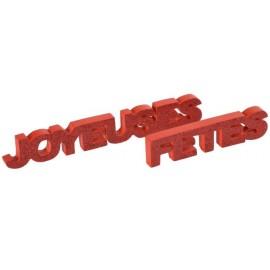 Déco mot joyeuses fêtes rouge pailleté en bois 27 cm
