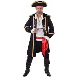 Déguisement manteau pirate noir homme luxe