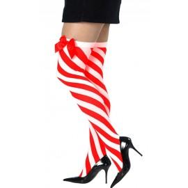 Bas rayés rouge et blanc avec noeud femme