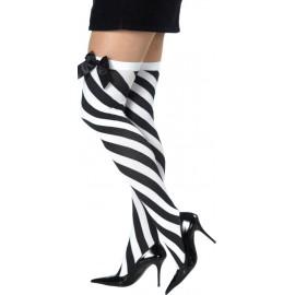 Bas rayés noir et blanc avec noeud femme