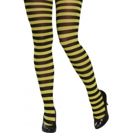 Collant abeille rayé jaune et noir femme