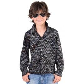 Déguisement chemise disco noire à paillettes enfant