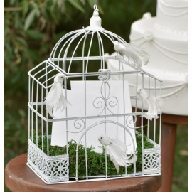 Tirelire cage à oiseaux blanche rectangulaire 34 cm