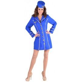 Déguisement hôtesse de l'air bleu cobalt femme luxe
