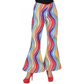 Déguisement pantalon hippie rainbow waves femme luxe