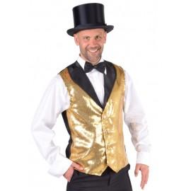 Déguisement gilet paillettes sequin or homme luxe