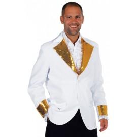 Déguisement veste blanche paillettes sequin or homme luxe