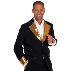 Déguisement veste noire paillettes sequin or homme luxe