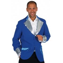 Déguisement veste bleu cobalt paillettes argent homme luxe