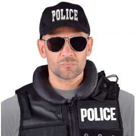 Casquette police noire adulte et enfant luxe