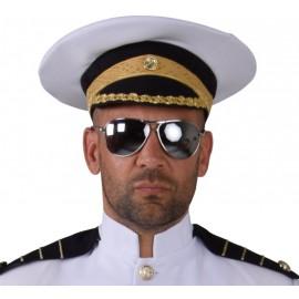 Casquette officier blanc adulte luxe