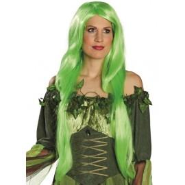 Perruque longue vert fluo femme