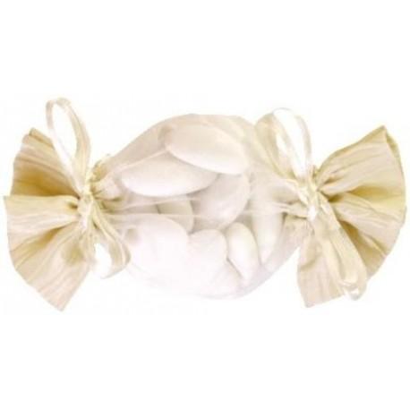 Sachet à dragées bonbon ivoire 15 cm les 6