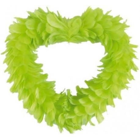 Coeur Vert Anis en Plumes