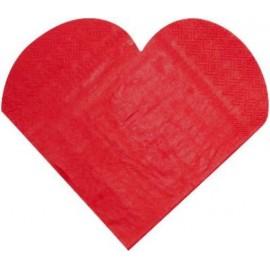 Serviettes de Table Coeur Rouge les 20