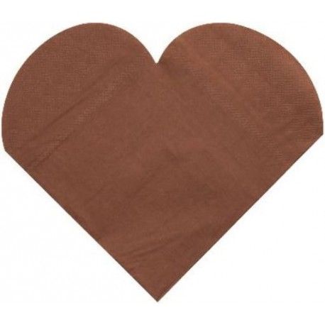 Serviettes de table Coeur Chocolat les 20