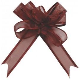 Mini noeuds organdi chocolat 16 mm les 5