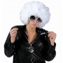 Perruque disco blanche bouclée adulte luxe