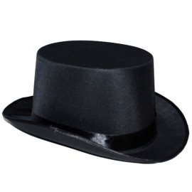 Chapeau Haut de Forme Noir Satiné Adulte