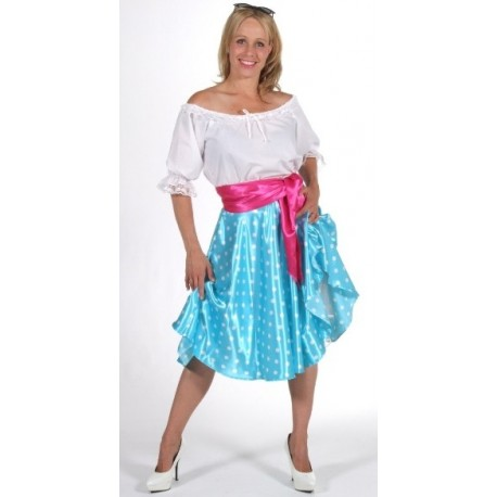 Deguisement Jupe Rock n Roll Bleue et Jupon Femme