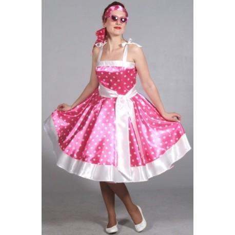 Costume Robe Rock'n Roll Rose à Pois Femme