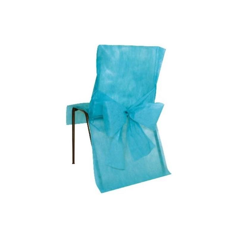Housses de chaise intiss turquoise avec noeud d corations for Housse de chaise turquoise