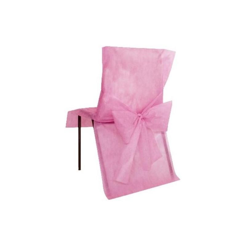 Housses de chaise intiss rose avec noeuds les 10 - Housse de chaise rose ...
