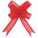Mini noeuds organdi rouge 16 mm les 5