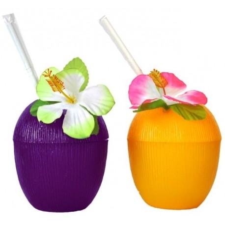 Verre Noix de Coco Prune, Paille et Fleur Hawaienne