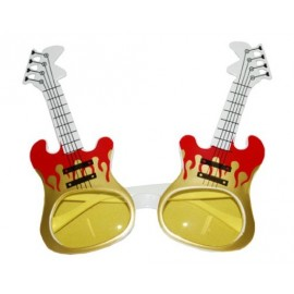 Lunettes Guitare Or et Rouge Adulte