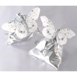 Papillons Perles Blanc Argent