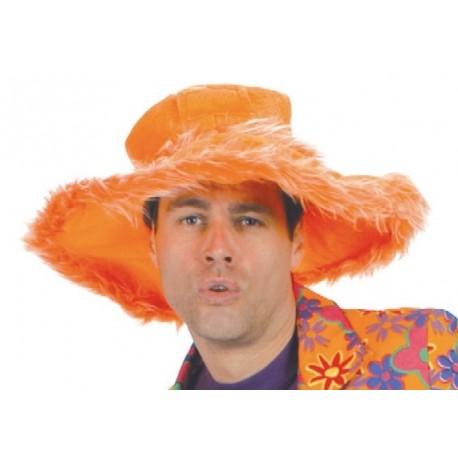 Chapeau Hippie Orange Bord boa - Accessoire Deguisement Hippie