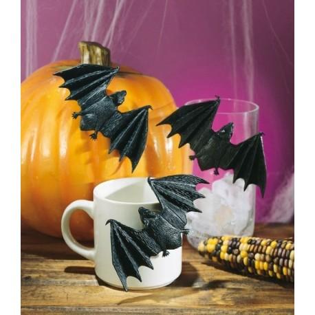 Chauve souris noires ventouses les 4 for Deco halloween chauve souris