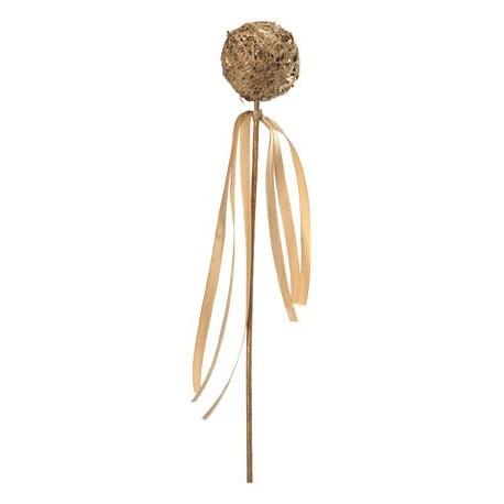 Boules en bois or sur tige avec rubans satin
