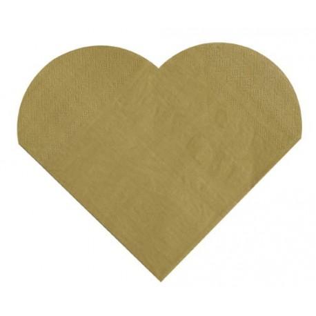 Serviettes de table coeur or les 20 - serviette coeur en papier