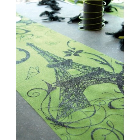 chemin de table paris vert en tissu organdi. Black Bedroom Furniture Sets. Home Design Ideas