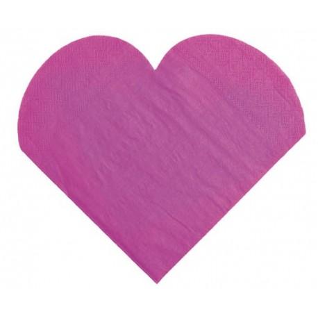 Serviettes de table coeur prune les 20 serviettes en papier