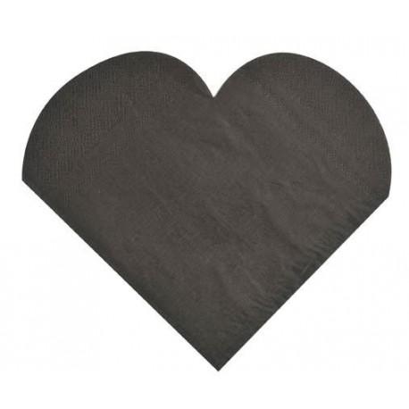 serviettes de table coeur noir en papier