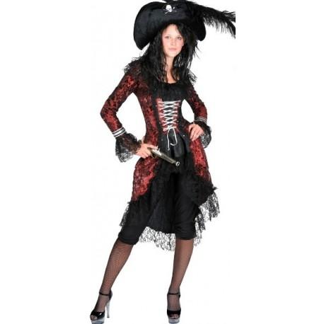 Déguisement Pirate Baroque Rouge et Noir Femme