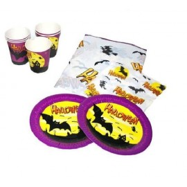 Set Halloween de table 6 Personnes (vaisselle jetable)