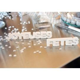Mots Joyeuses Fêtes en Bois Pailleté Déco de table